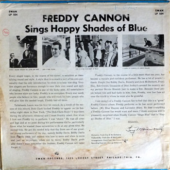 Freddy Cannon - Sings Happy Shades Of Blue LP Back Cover