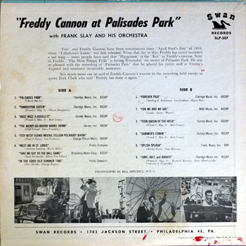 Freddy Cannon - Palisades Park LP Back Cover