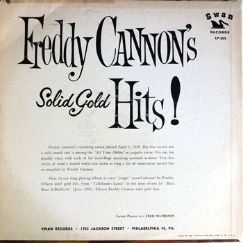 Freddy Cannon - Freddy Cannon's Greatest Hits LP Back Cover