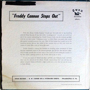 Freddie Cannon - Steps Out LP Back Cover